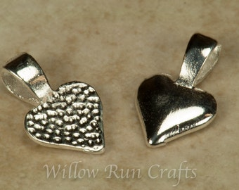 25 Silver Plated Heart Bails, Small Necklace Bails (07-06-310)