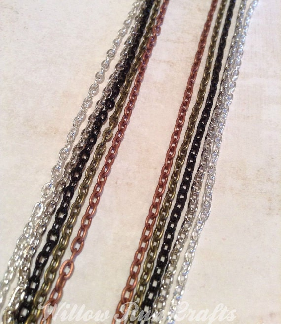 """25  Metal Necklace Oval Chain  24"""" in Silver, Antique Copper, Black, Antique Silver and Antique Bronze"""