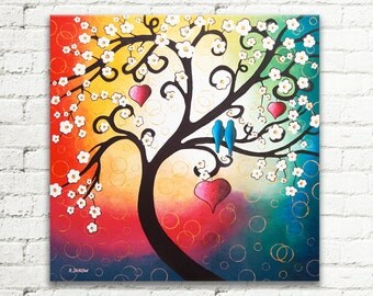 Whimsical Tree of Life Painting Large Wall Art, Love Birds Rainbow Art Cherry Blossom Canvas Art Tree Room Decor 24x24