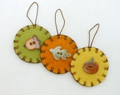 Hand Sewn Thanksgiving Ornaments with Porcelain Buttons- Set of 3