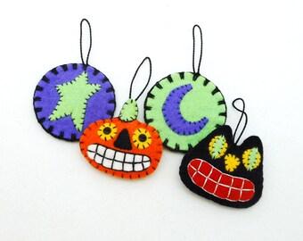 Hand Sewn Wool Felt Halloween Ornaments  (Set of 4)