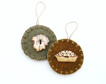 Hand Sewn Thanksgiving Ornaments with Porcelain Buttons- Set of 2