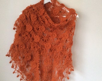 Orange Mohair Shawl
