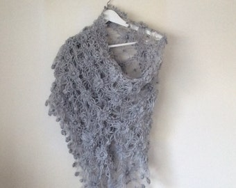Grey Flowered Triangle Mohair Shawl