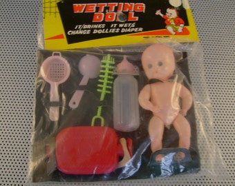 Vintage 1960s Wetting Doll Toy in Original Package Made in Hong Kong, Great Baby Shower Gag Gift