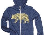 Unisex California Bear Eco Heather Hoody - Alternative apparel XS S M L XL