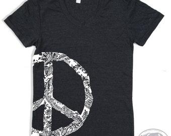 Womens Vintage PEACE t shirt american apparel S M L XL (16 Color Options)
