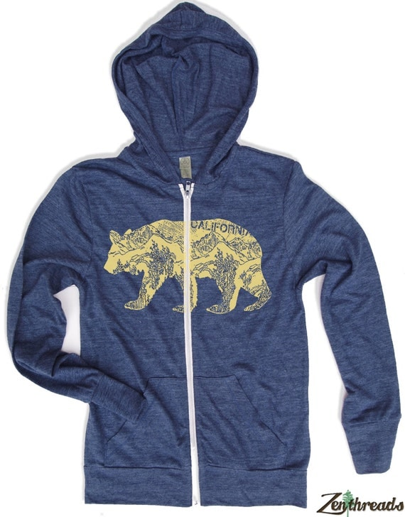 Unisex California Bear Eco Heather Hoody - Alternative apparel XS S M L XL (6 Colors)