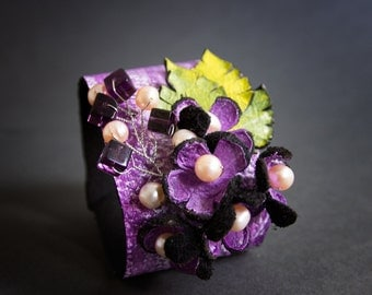 Purple  leather and pearls floral wide cuff bracelet Statement jewelry  Flowers
