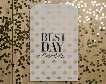 "25qty - ""Best Day Ever"" - Gold Polka Dots with Black Foil - Foil Stamped Treat Bags"