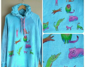 SALE! Rainbow Cats Hoodie one of a kind for cat lovers only xl