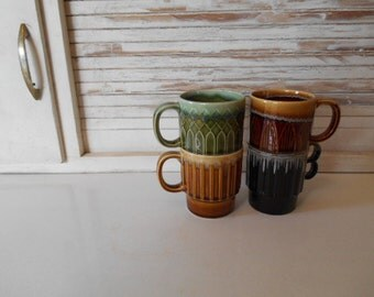 4 Mismatched Retro Stacking Green Brown Avacado 1970s Mugs Cups Japan