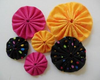 Black, Yellow and Pink Cotton Yo yos - Yo yo Appliques - Yo yo Embellishments