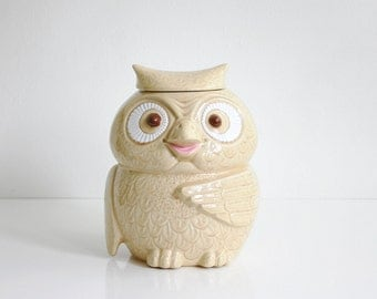 Vintage McCoy Woodsy Owl Cookie Jar / Mid Century McCoy Owl Canister in Cream and Pink