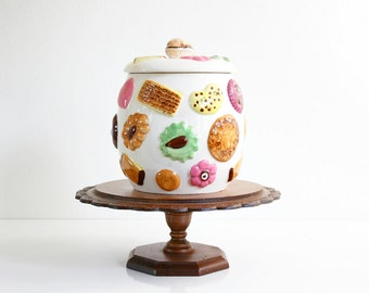 Vintage Ceramic Cookies Cookie Jar / Mid Century Napco Cookies All Over Canister