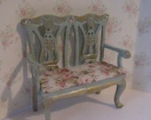 Dollhouse bench,  Love seat, mini love seat, tatty chic ,  Duck egg blue love seat, hand painted dollhouse miniature, twelfth scale,