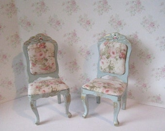 Chairs, two duck egg blue with rose seats.  Twelfth scale dollhouse miniature