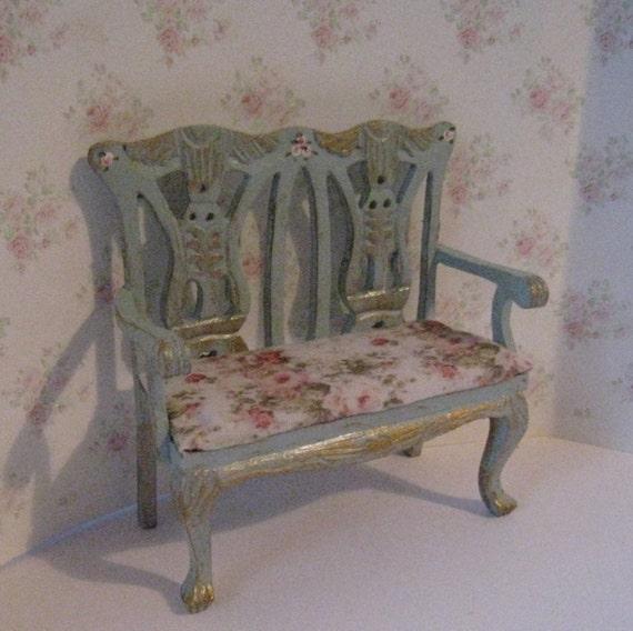 Dollhouse Bench Love Seat Mini Love Seat Tatty Chic