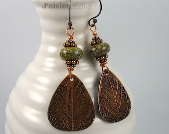 Desert Sage Leaf earrings| botanical jewelry, rustic etched copper drops, lampwork beads, copper wire