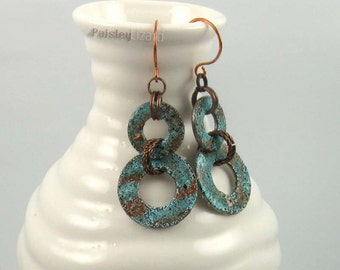 Rustic turquoise hoops earrings, metal washers with distressed finish on copper wires