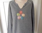 Grey Sweatshirt, Alternative Brand, Soft Sweater, Flower Design Sweatshirt, Pastel Sweatshirt, Raglan Sleeve Sweatshirt, Altered Sweatshirt