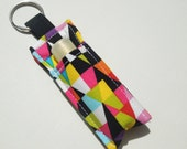 Lip Balm Key chain, Chapstick Holder, fabric chap stick cozy keychain,ChapStick Keychain,Lipbalm pouch, lipstick case cozy-Prasmatic Diamond