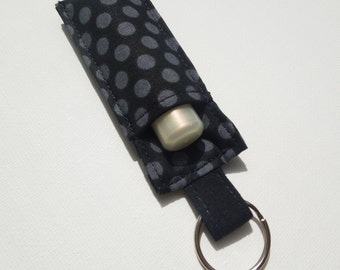 Lip Balm Key chain, Chapstick Holder, fabric chap stick cozy keychain,ChapStick Keychain,Lipbalm pouch, lipstick case cozy-DotGray on Black