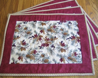 Quilted Placemats in a Red Leaves and Pinecone Pattern - Set of 4