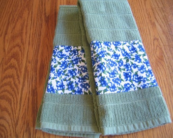 SALE PRICED - Appliqued Blueberry Terry Towels - Set of 2