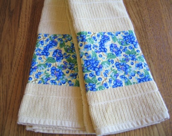 SALE PRICED - Appliqued Blueberry on Yellow Towels - Set of 2