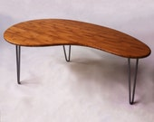 QUICK SHIP! Mid Century Modern Coffee/Cocktail Table Kidney Bean Shaped Atomic Eames Era  Boomerang Design in Natural Caramelized Bamboo
