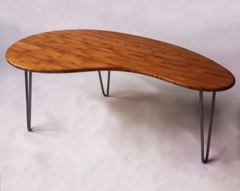 Mid Century Modern Coffee/Cocktail Table Kidney Bean Shaped Atomic Eames Era  Boomerang Design in Bamboo
