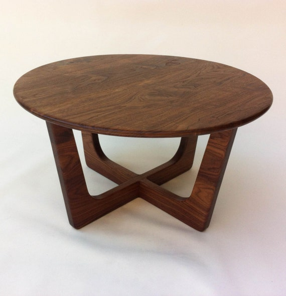 Solid Walnut Round Mid Century Modern Coffee Cocktail Table