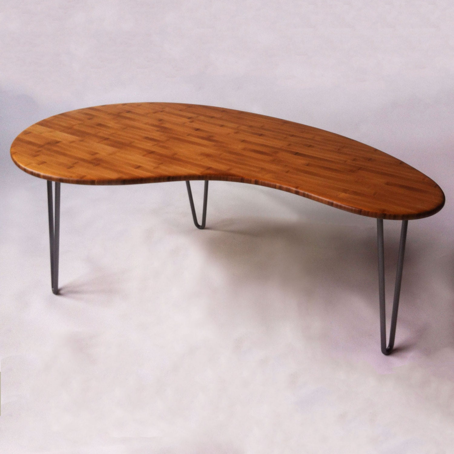 Mid Century Modern Coffee Cocktail Table Kidney Bean Shaped