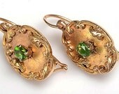 Very Beautiful, True Victorian 14kt Yellow Gold and Emerald Pierced Earrings: Unisex, all ages, May birthstone, engagement ring, love token