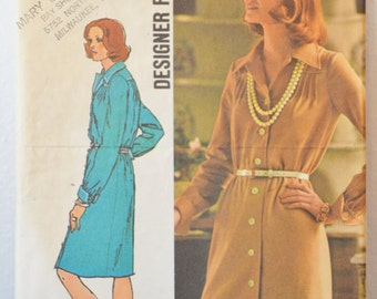 Vintage Women's Button-front Dress 1973 Sewing Pattern Simplicity 5731 Size 20 Bust 42