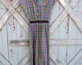 Ethel - vintage 50's pastel plaid dress M L XL