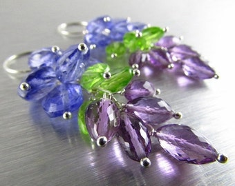 25% Off Summer Sale Dangling Amethyst, Peridot and Quartz Sterling Silver Earrings