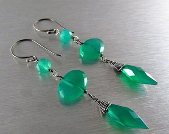 20 % Off Green Onyx And Oxidized Sterling Silver Dangle Earrings