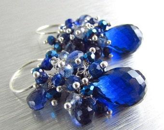 BIGGEST SALE EVER Blue Quartz, Kyanite, Lapis Lazuli Gemstone Sterling Wire Wrapped Cluster Earrings