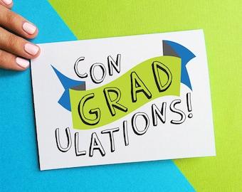 graduation card congratulations card conGRADulations congrats grad green blue white banner college high school graduation greeting card