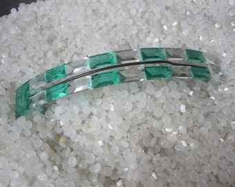 vintage barrette, clear, and clear green, very large 1960s retro hair accessory