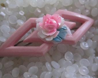vintage hair barrette , soft pink with pink rose