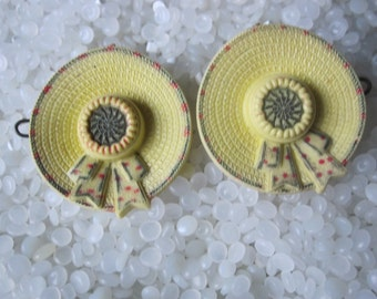 vintage barrette, yellow hats , rare pair. Sale,