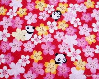 Kimono Japanese Fabric - Sakura Pandas on Red - Half Yard - (ma151005)