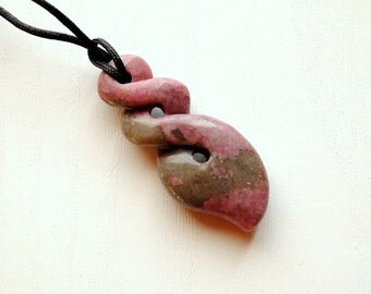Pendant - Grey Pink Rhodonite, tribal, infinity, boho, etno, unisex pendant, adjustable - by Schneider Gallery