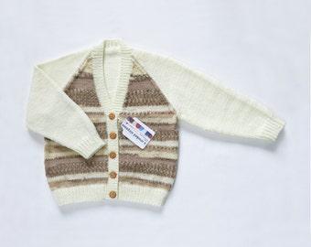 Girls Cardigan - Caramel Cookie. Hand Knit Cardigan. Hand Knit Childrenswear.