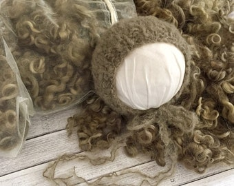 "Newborn Knit Brushed Mohair Bonnet & Extra Large ""Scatter Bag"" of Angora Locks/Curls in Golden Sage"