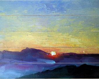 Mountain Sunset Wood Print, Blue Ridge Wood Print, Print on Wood, Free Shipping
