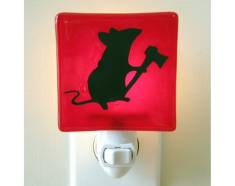 Mouse Night Light - Funny Gift - Hand Painted Glass